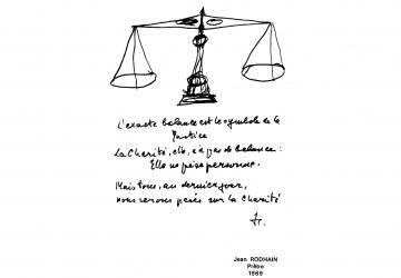 Balance de la charité - croquis de Jean Rodhain à la Cité Saint-Pierre à Lourdes