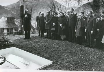 Funérailles de Jean Rodhain à la Cité Saint-Pierre à Lourdes