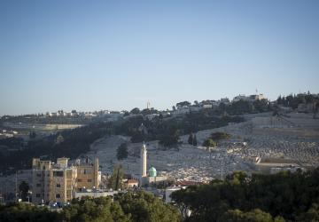 Cimetière Juif, Mur de Jérusalem et Mosquée, vue de la Maison d'Abraham du Secours Catholique-Caritas France