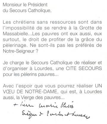 Mgr Théas adresse un courrier à Jean Rodhain le 13 juillet 1955